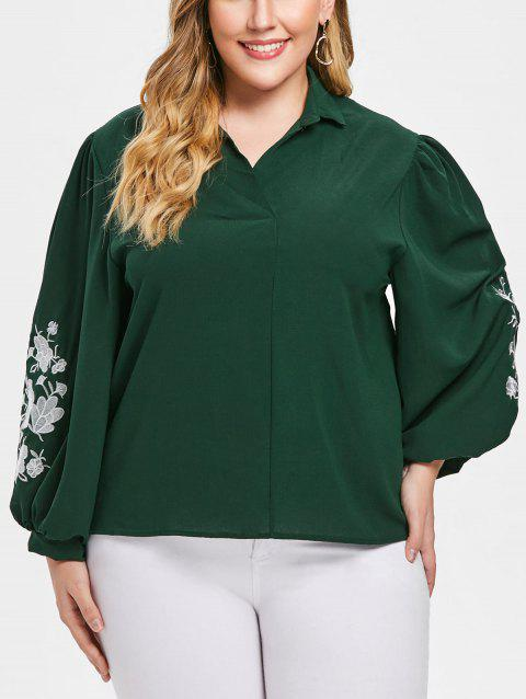Plus Size Floral Embroidery Shirt - DARK GREEN 1X