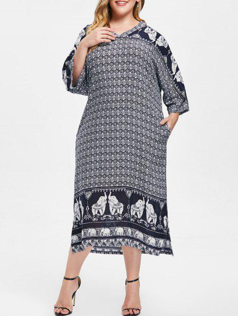 Bohemian Tribal Print Plus Size Midi Dress - multicolor ONE SIZE