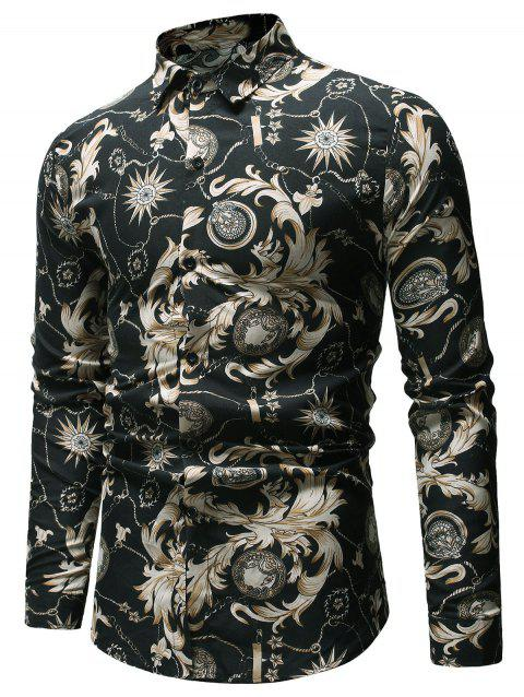 Flowers Print Long Sleeves Shirt - BLACK M