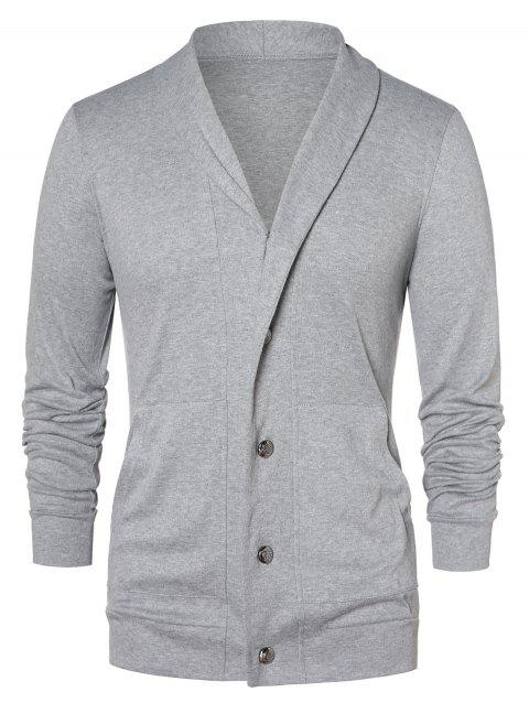 Button Up Shawl Collar Cardigan - GRAY CLOUD L