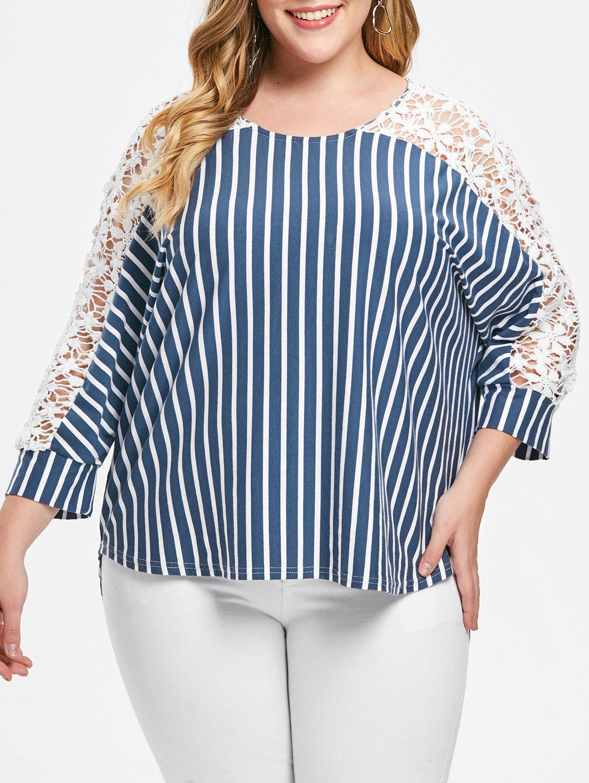 Sheer Lace Insert Plus Size Striped Top - multicolor 1X