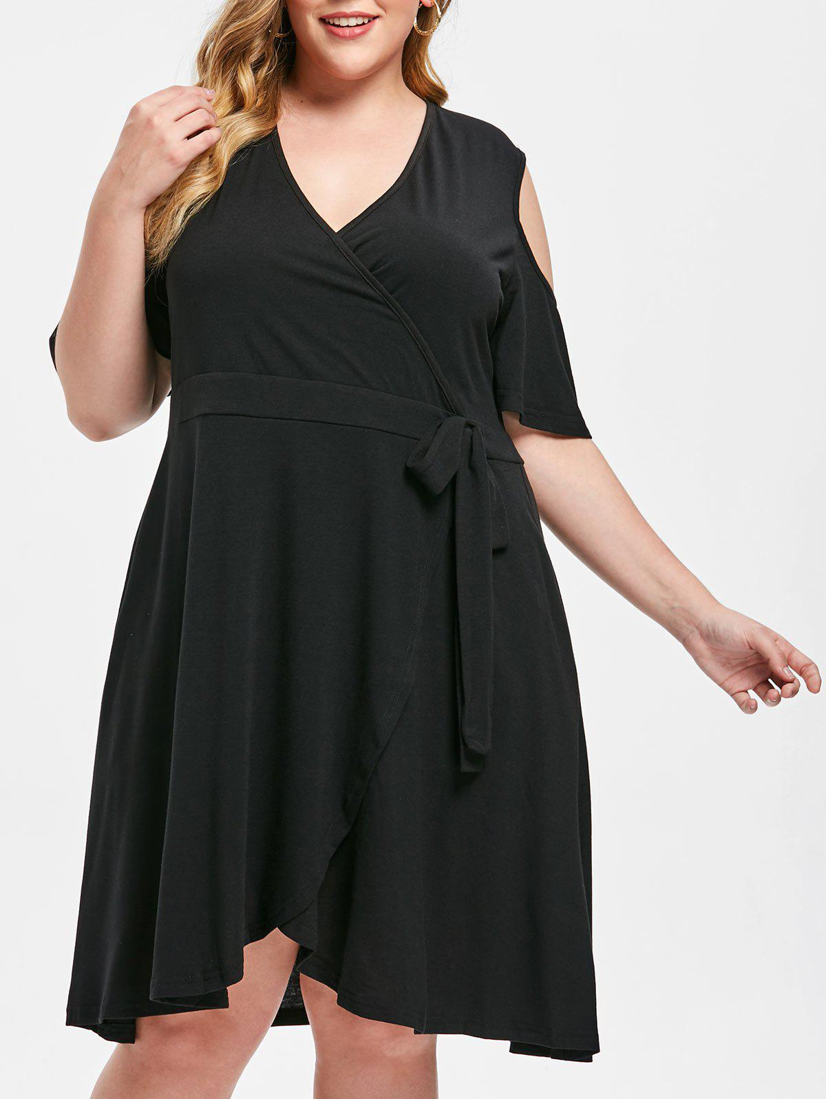 Cold Shoulder Plus Size Fit and Flare Dress - BLACK 2X