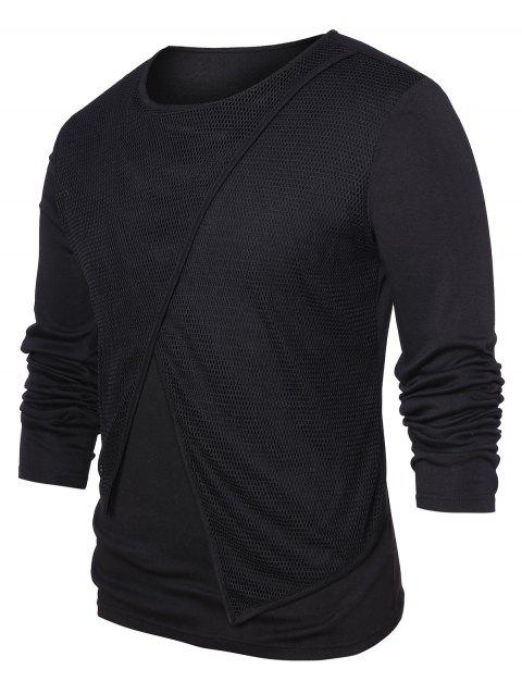 Mesh Panel Round Neck Top - BLACK M