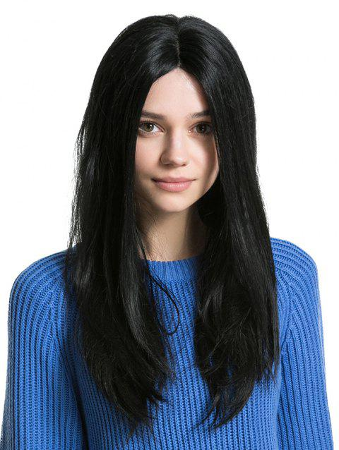Middle Part Long Capless Straight Human Hair Wig - BLACK