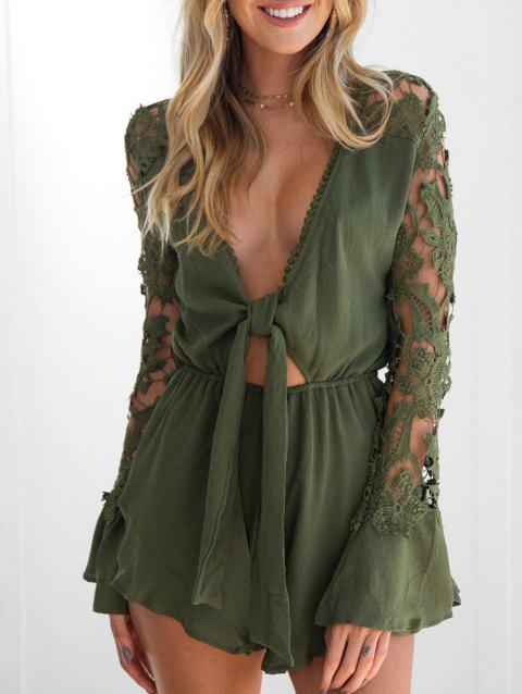 V Neck Lace Insert Tie Front Romper - ARMY GREEN M