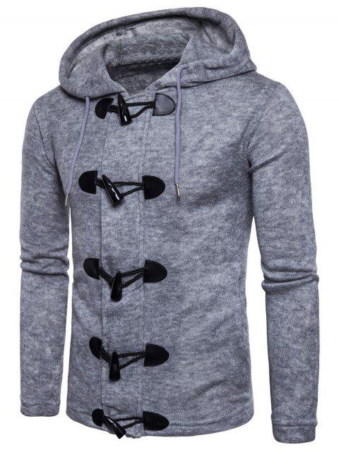 Solid Toggle Button Zipper Sweater - LIGHT GRAY XS