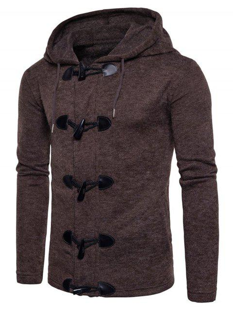 Solid Toggle Button Zipper Sweater - COFFEE M