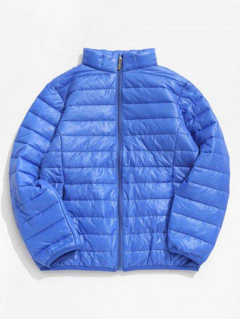 Zip Up Solid Warm Lightweight Padded Jacket - BLUEBERRY BLUE L