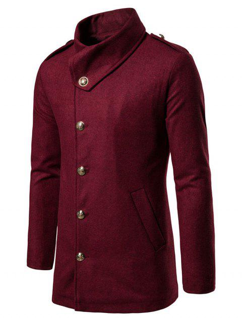 Solid Single Breasted Woolen Coat - RED WINE 2XL