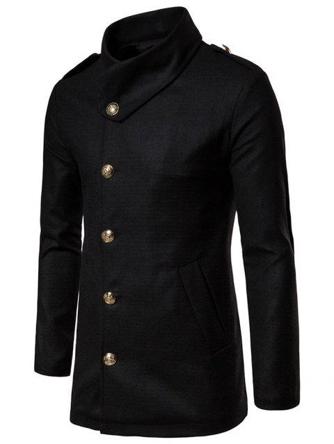 Solid Single Breasted Woolen Coat - BLACK M