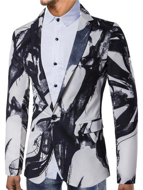 Chinese Style Ink Painting Print One Button Pocket Blazer - WHITE XS