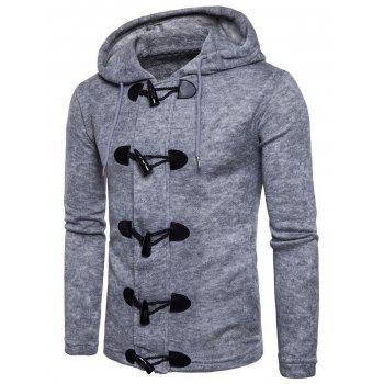 Solid Toggle Button Zipper Sweater