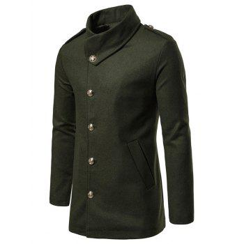 Solid Single Breasted Woolen Coat
