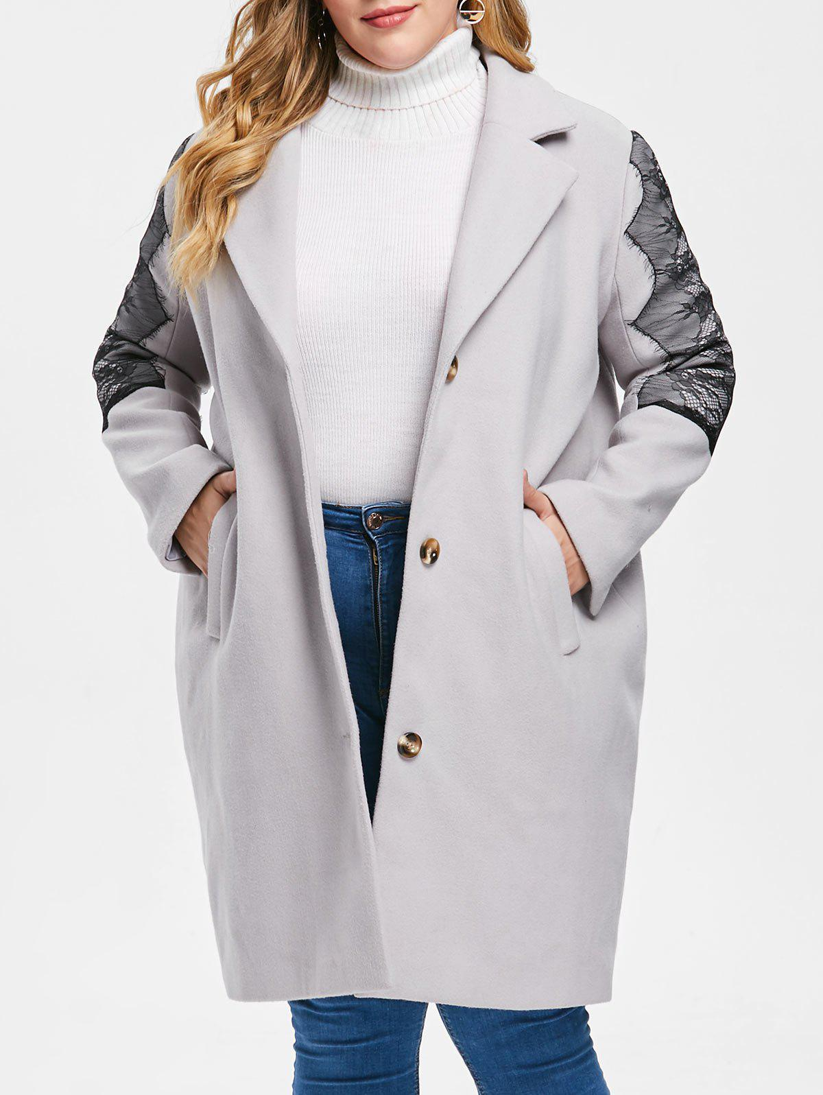 Plus Size Eyelash Lace Coat - LIGHT GRAY L