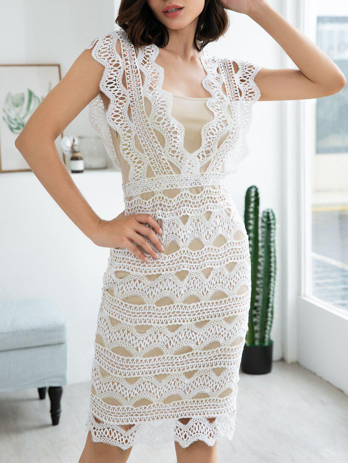 Sleeveless Zigzag Lace Midi Dress - WHITE XL