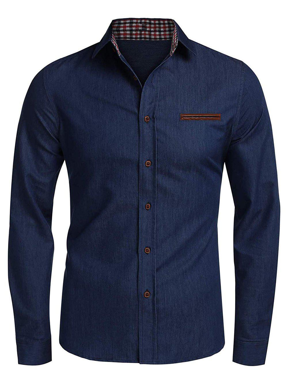 Plaid Edge Button Up Casual Long Sleeve Shirt, Denim dark blue