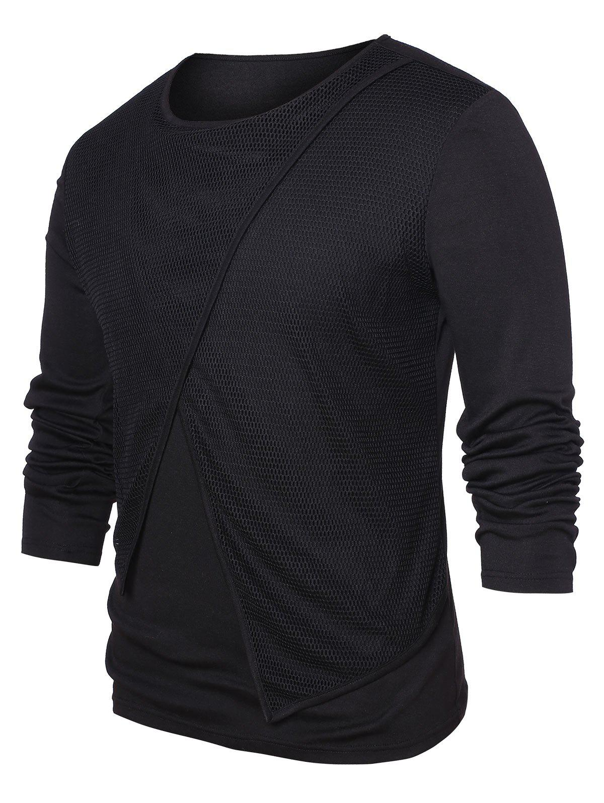 Mesh Panel Round Neck Top - BLACK XL