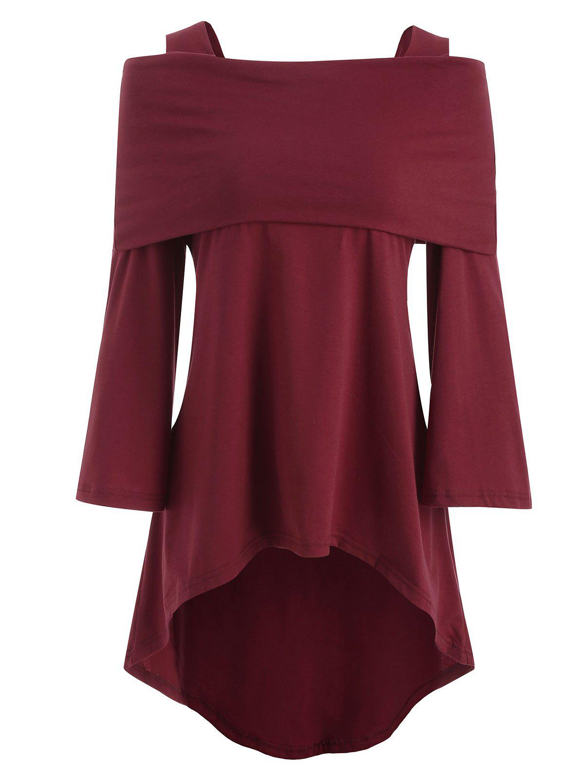 Open Shoulder High Low Plus Size T-shirt - RED WINE 5X