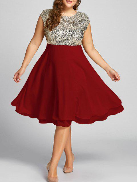 Plus Size Sequin Sparkly Cocktail Dress - RED 2XL