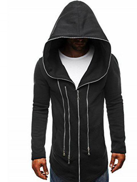 Zipper Decor Loose Hooded Trench Coat - BLACK M