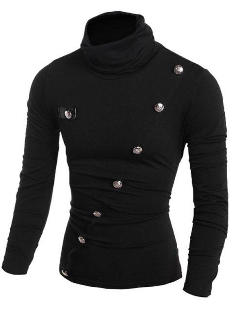 Turtleneck Button Decor Seam Patchwork Long Sleeve T-shirt - BLACK S