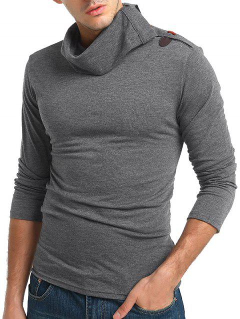 Solid Turtneck Toggle Button Pullover Long Sleeve T-shirt - GRAY M