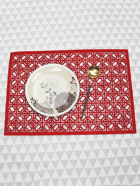 1PC Geometric Hollow Out Placemat - RED 1PC