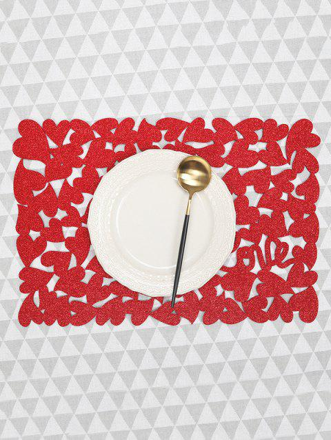 1PC Solid Heart Pattern Placemat - RED 1PC