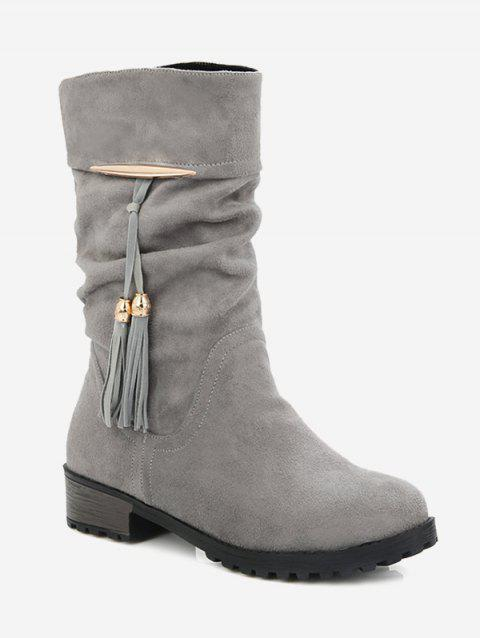 Plus Size Tassels Decor Ruched Boots - BATTLESHIP GRAY EU 40