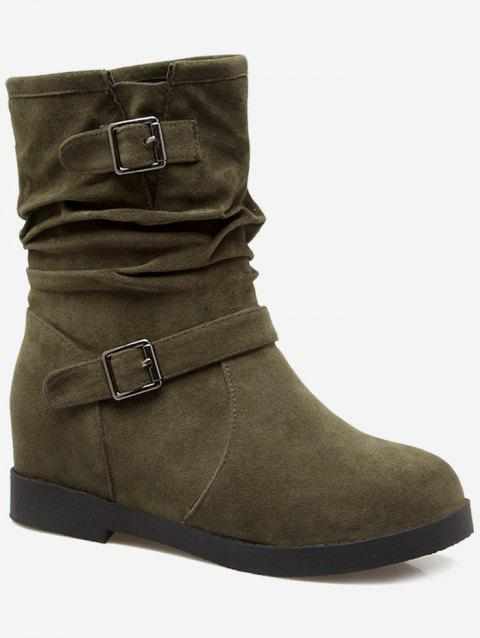 Plus Size Ruched Hidden Wedge Mid Calf Boots - ARMY GREEN EU 41