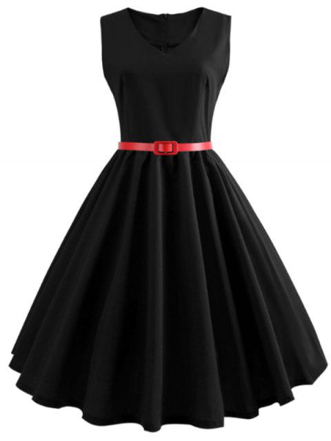 V Neck Sleeveless A Line Dress - BLACK M
