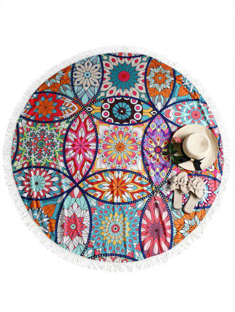 Lotus Print Fringed Round Beach Throw - multicolor ONE SIZE