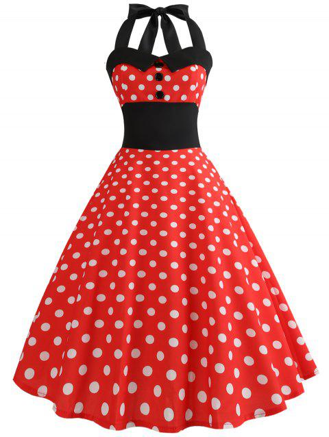 Halter Polka Dot Flare Dress - LAVA RED M