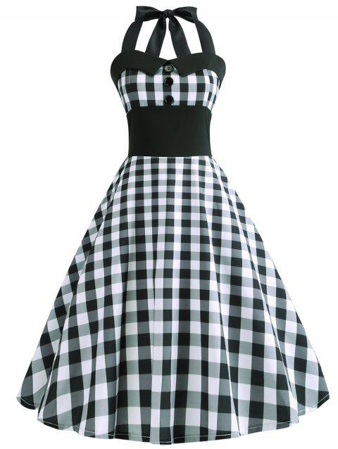 High Waist Checked Flare Dress - multicolor XS