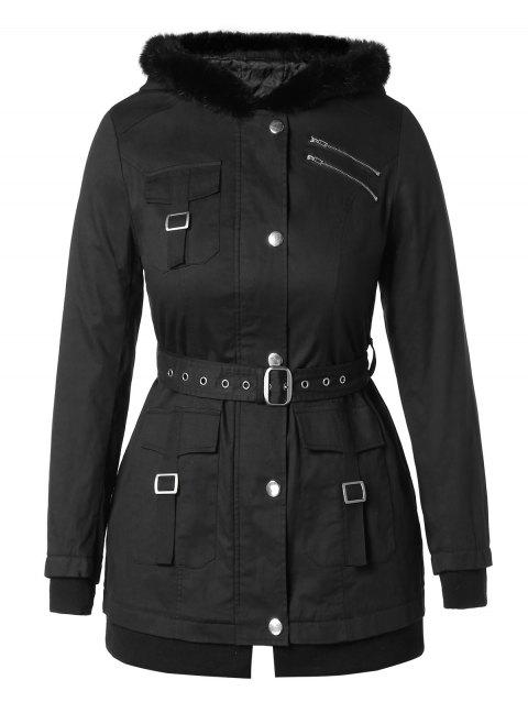 Plus Size Hooded Coat with Belt - BLACK 4X
