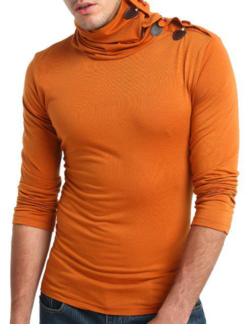 Solid Turtneck Toggle Button Pullover Long Sleeve T-shirt - PAPAYA ORANGE XS