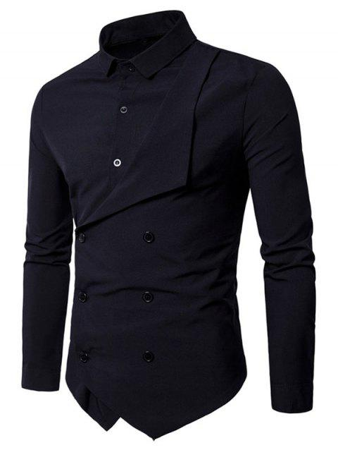 Lapel Double Breasted Placket Patchwork Long Sleeve Shirt - BLACK M