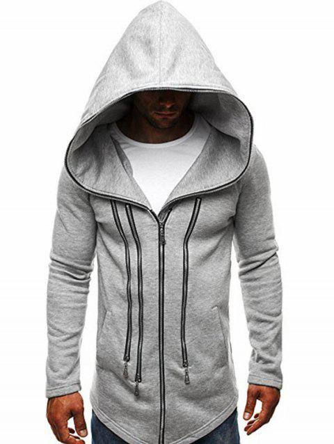 Zipper Decor Loose Hooded Trench Coat