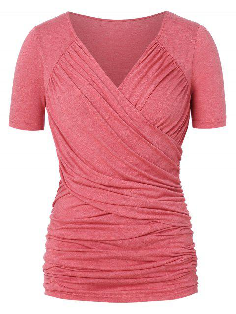 Plus Size Ruched Cross Front T-shirt - RED WINE 2X