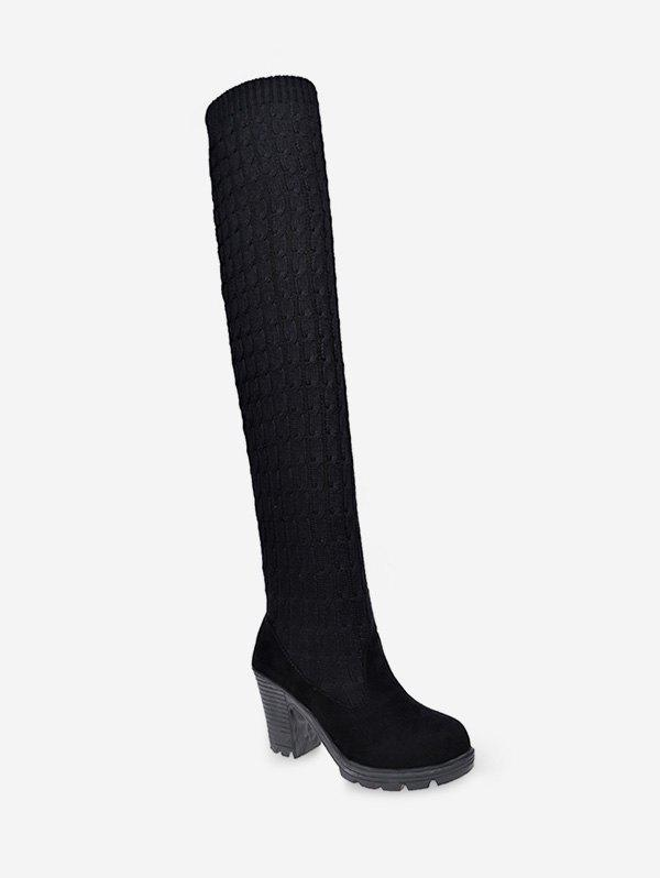 High Heel Sock Thigh High Boots - BLACK EU 38