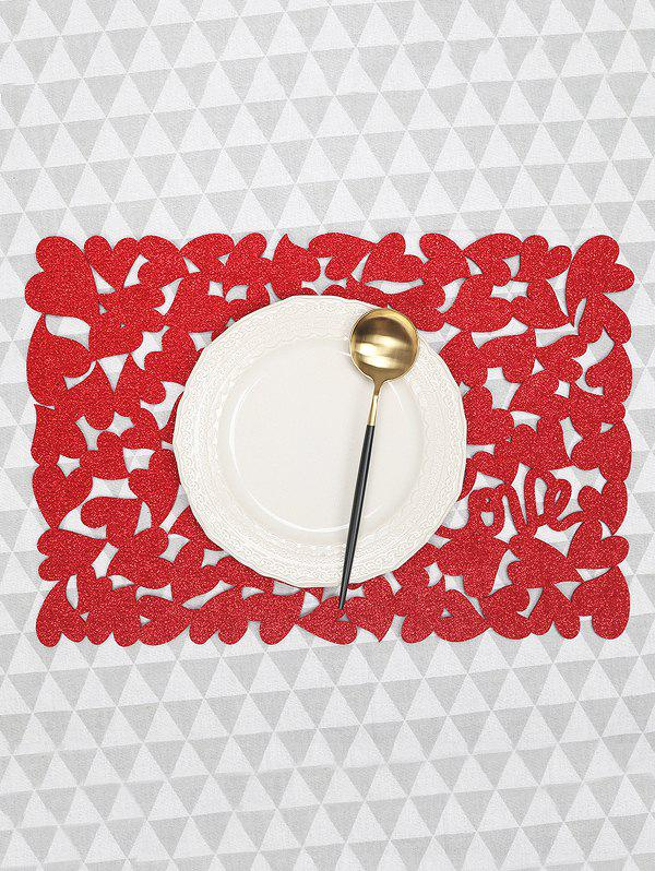 1PC Solid Heart Pattern Placemat фото
