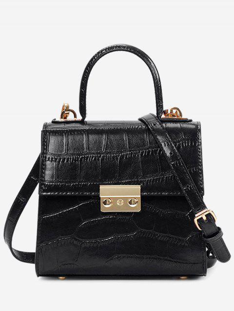 PU Leather Hasp Square Crossbody Bag - BLACK