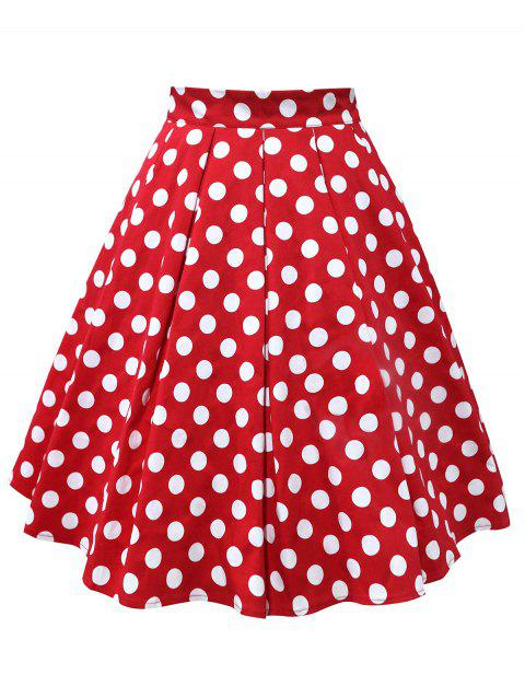 Plus Size Polka Dot Mid Calf Skirt - RED 3X