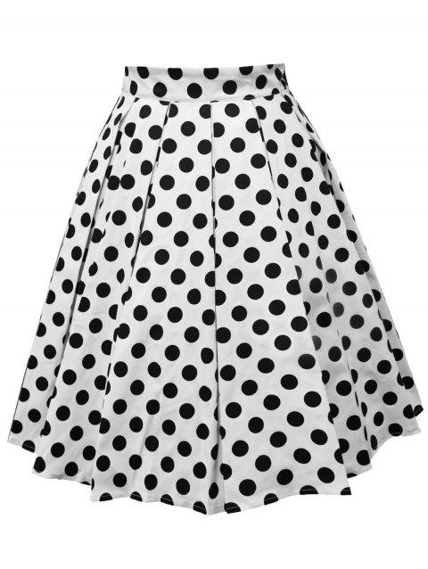 Plus Size Polka Dot Mid Calf Skirt - WHITE 3X