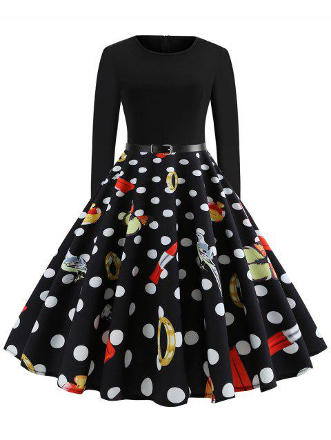 Polka Dot Print Long Sleeve High Waist Dress - BLACK M
