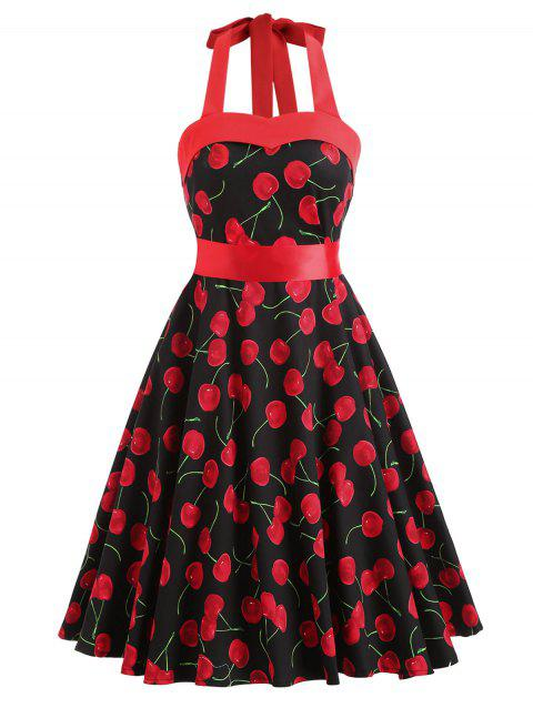 Cherry Print Lace Up Belted Dress - RED M