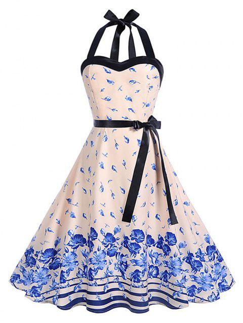 Halter Printed Belted A Line Dress - BLANCHED ALMOND M