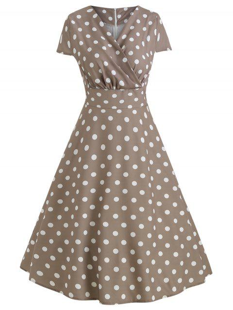 Vintage Polka Dot Fit and Flare Dress - TAN 2XL