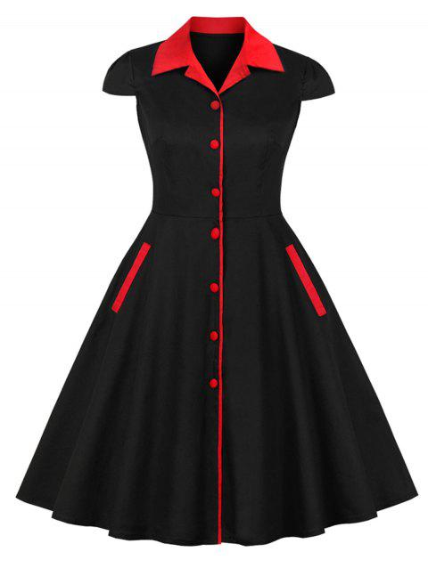 Plus Size Turn Down Collar A Line Vintage Dress - BLACK 3X
