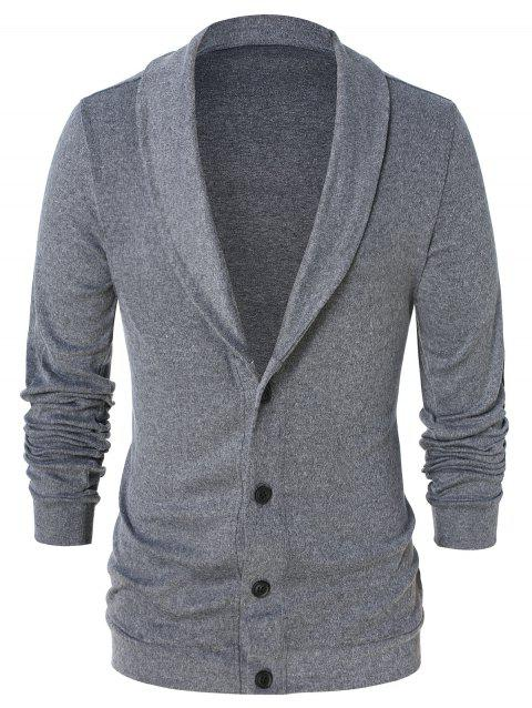 Shawl Collar Button Up Cardigan - CLOUDY GRAY M